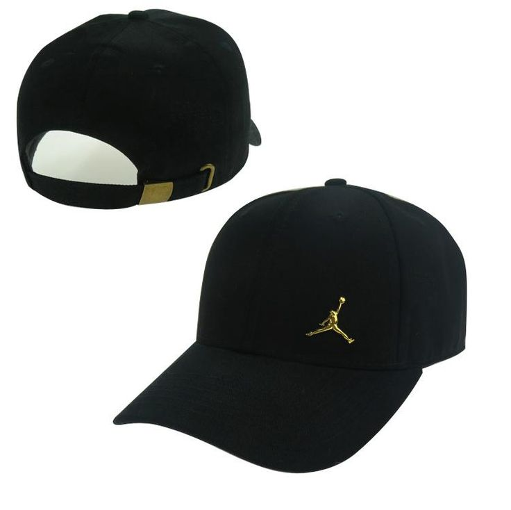 Men's / Women's Unisex Air Jordan The Small Jumpman Gold Metal Logo Strap Back Adjustable Baseball Hat - Black