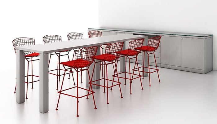Reff Profiles™ Tall Table and Service Height Credenza with Bertoia Barstools
