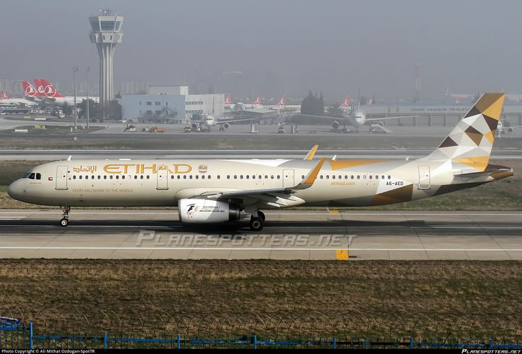 Etihad Airways (AE) Airbus A321-231(WL) A6-AED aircraft, with the sticker ''From Abu Dhabi to the World'' on the airframe, skating at Turkey Istanbul Ataturk International Airport. 29/02/2016.