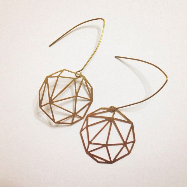 Gold Geometric Brass Earrings Minimalist Hexagon Earrings, Triangle... ($21) ❤ liked on Polyvore featuring jewelry, earrings, long gold earrings, dangle earrings, gold jewellery, laser cut earrings and triangle earrings