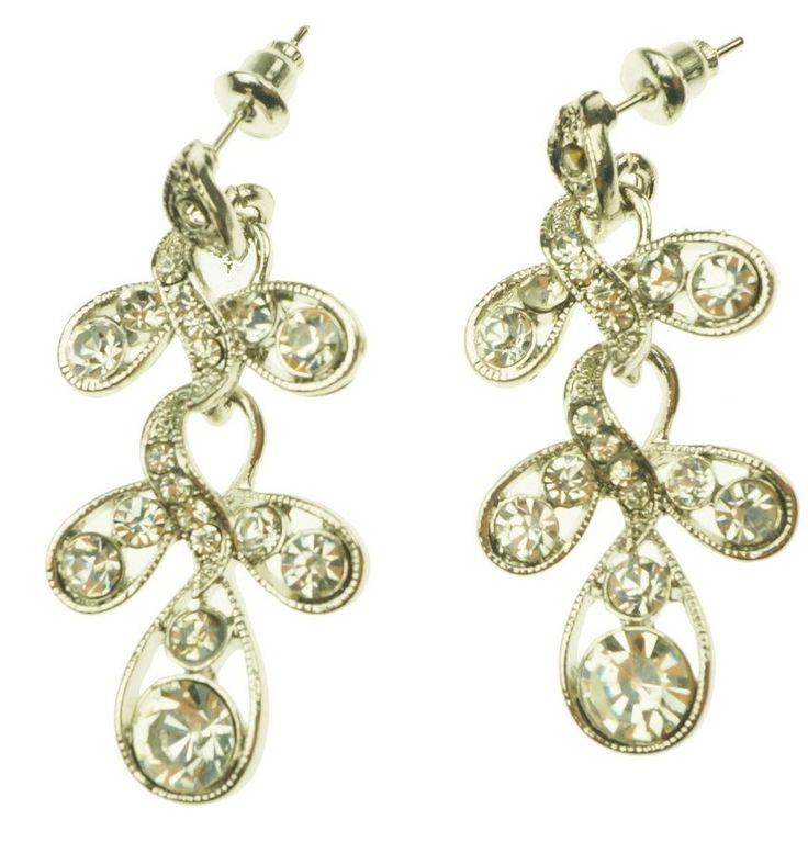 Beautiful delicate earrings with Diamonte design.
