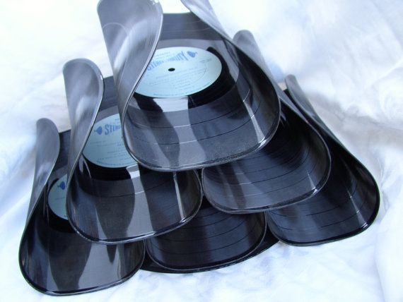 Wine rack made from record albums (if you still own any and or ready to part with them.)