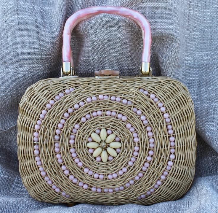 Vintage Woven Purse Handbag Vintage Wicker Beaded Purse Vintage Beaded Handbag Basket. $25.00, via Etsy.