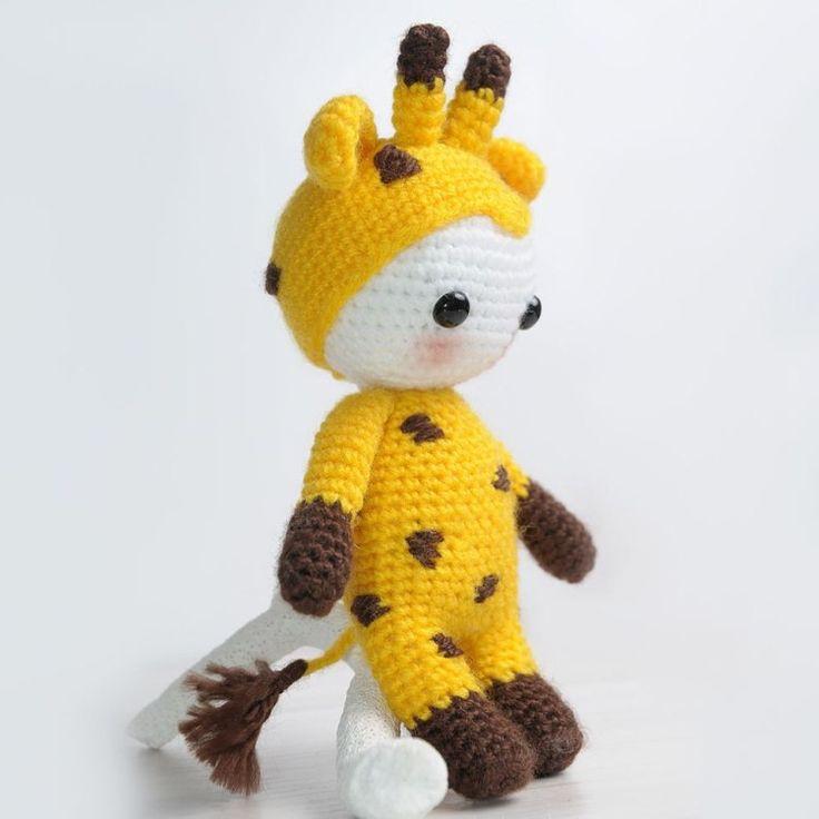 Amigurumi pop gekleed in giraffe kostuum - Gratis haakpatroon