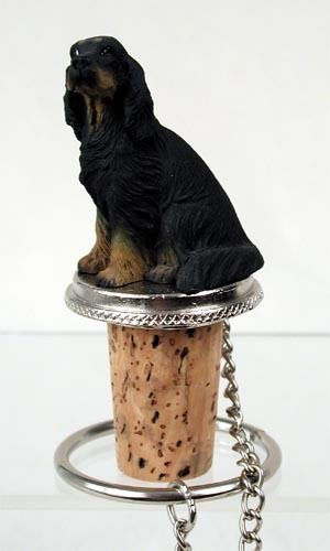 Realistic Elegant Hand Painted Gordon Setter Figurine on Wine Bottle…
