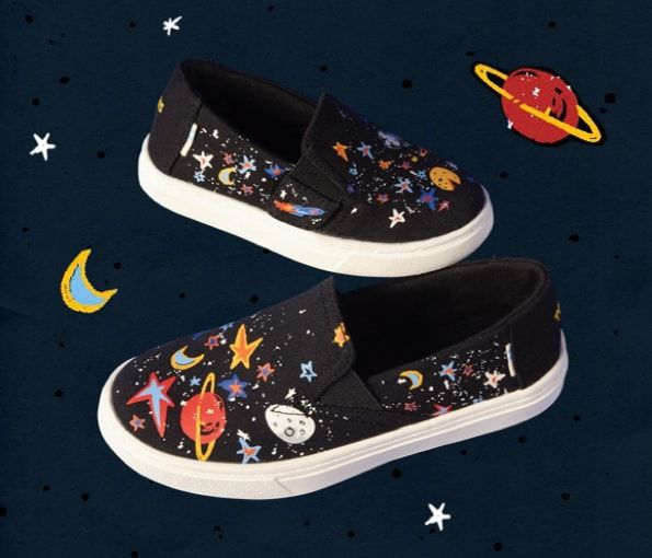 f1b4d45d06b Featured  Black Canvas Glow In The Dark Cosmic Print Youth and Tiny TOMS  Luca Slip-Ons