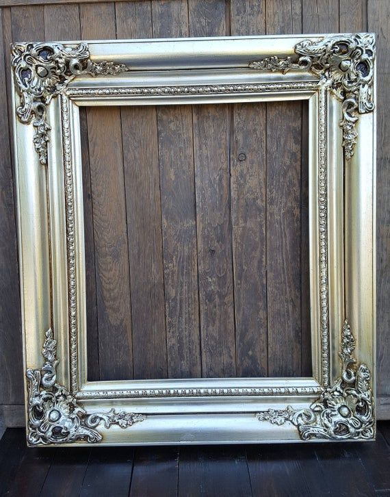Colonial Style Frame Silver Leaf Canvas Frameornate Wood Etsy Picture Frames Ornate Wood Frames Silver Picture Frames