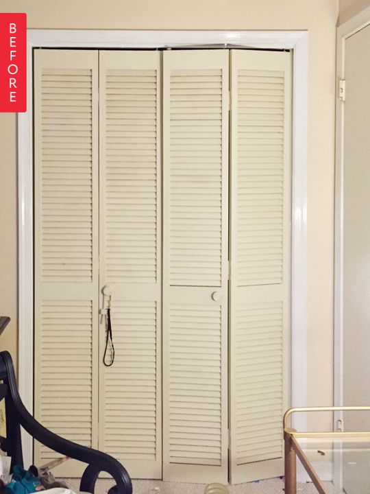 Before Amp After Bland Bi Fold Shutters To Chic Closet
