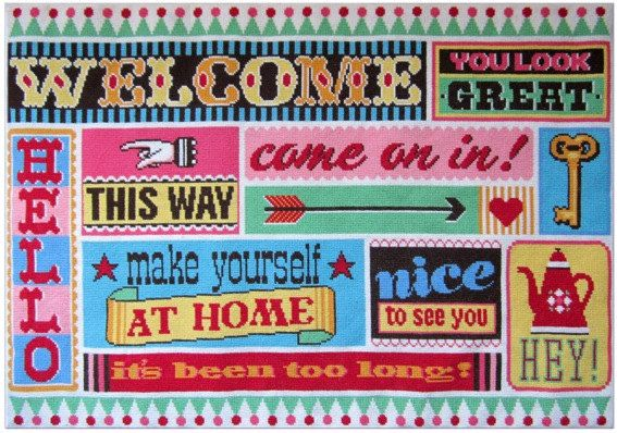 Welcome wall hanging cross stitch