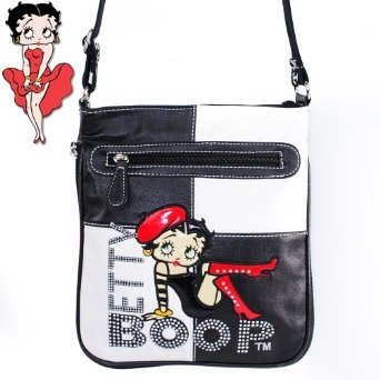 Amazon.com: Betty Boop Fashion Raised Gemstones Rhinestone Studded Color Block Patchwork Bodycross Messanger Bag Betty Boop Character Embroidered Handbag Purse in White and Black: Clothing $34.99