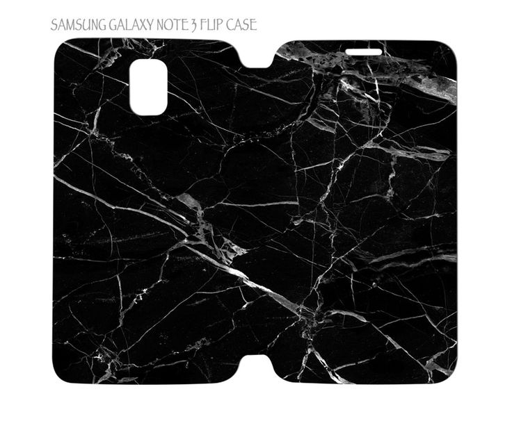Samsung Galaxy Note 3 Flip Case Folio Cover Black Marble #QuinnCafe