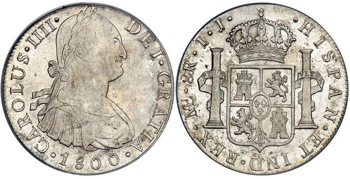 """Una moneda española de 8 reales, o un """"pedazo de ocho"""" de la tradición pirata.    A Spanish 8 reales coin, or a """"piece of eight"""" of pirate lore"""