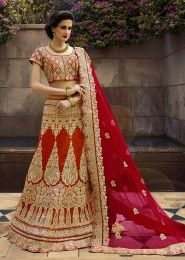 Wedding Wear Maroon Art Silk Zarkan Work Lehenga Choli