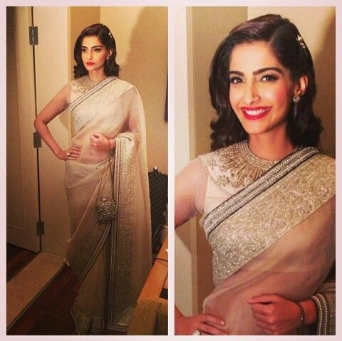 Celeb love - Sonam Kapoor in Anamika Khanna saree and blouse. Love her makeup and hairstyle. Pink lips.