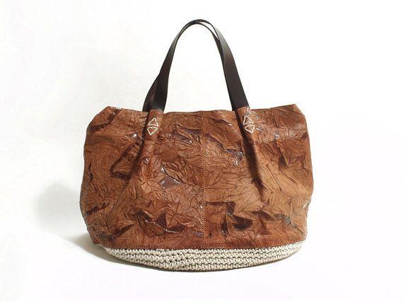 Handmade Shoulder Bag Shopping Bag Genuine Leather by MillionKnit, $169.00