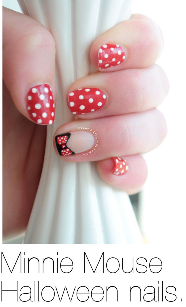 """""""Minnie Mouse Halloween nails."""" by lizanna on Polyvore"""