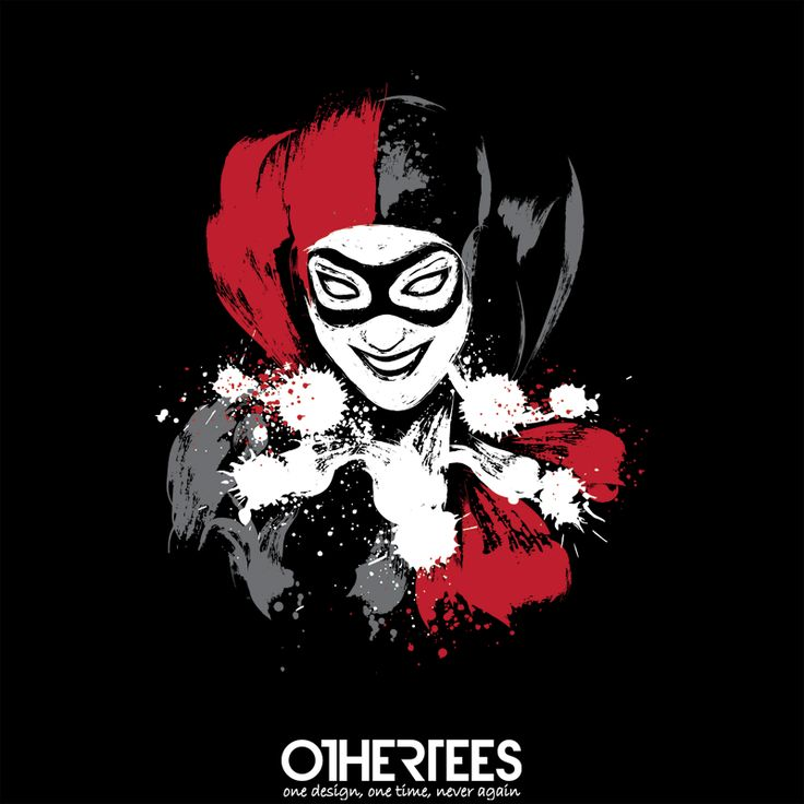 """Harlequin"" by Dr.Monekers T-shirts, Tank Tops, Sweatshirts and Hoodies are on sale until 1st November at www.OtherTees.com Pin it for a chance at a FREE TEE! #harleyquinn #batman #joker #dc #dccomics #detectivecomics #comics #otheertees"
