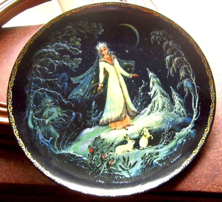 """This is the first in the LEGEND OF THE SNOWMAIDEN Russian Fairytale Series  Bradex 60-K 24-1.1  Designed by Anatoyli Aleksandrovich Kamorin   The plates are 7 1/2"""" (19cm).  Plates can be bought individually or as a set 1-8 for a reduced price (%)."""