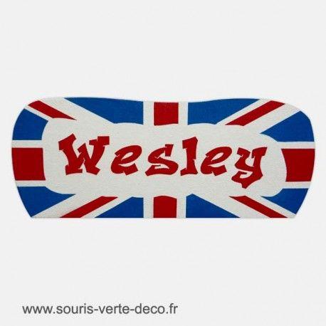 Plaque de porte drapeau anglais avec prénom, décoration chambre ado ou enfant http://www.souris-verte-deco.fr/Boutique/plaques-portes-prenom-chambre-adolescent-personnalisables/268-plaque-de-porte-drapeau-anglais-prenom-personnalisable-deco-chambre-ado.html