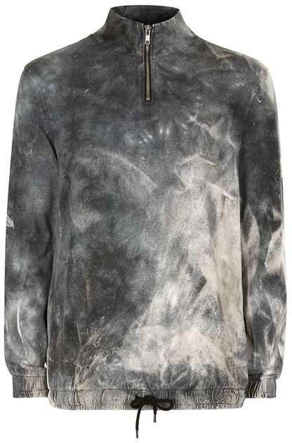 Grey Tie Dye Half Zip Sweater