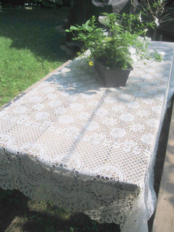 Vintage Plastic Lace Tablecloth Large Picnic Table Lacy Lacey White Design Outdoor Wedding By Mailordervintage On Etsy