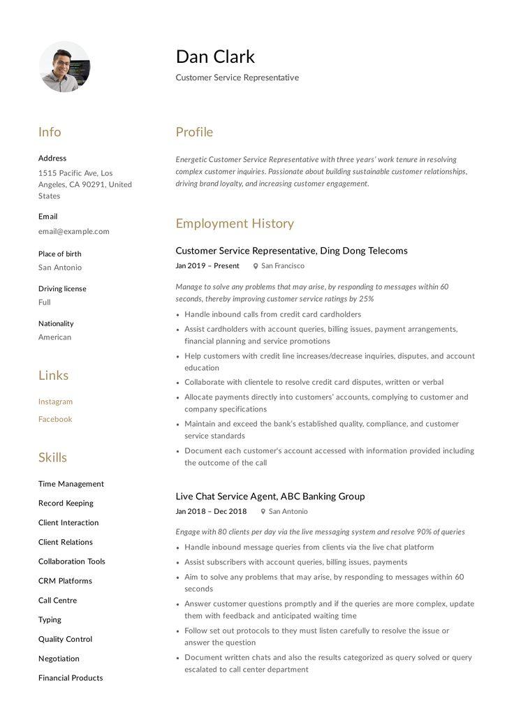 Customer Service Representative Resume Template Resume