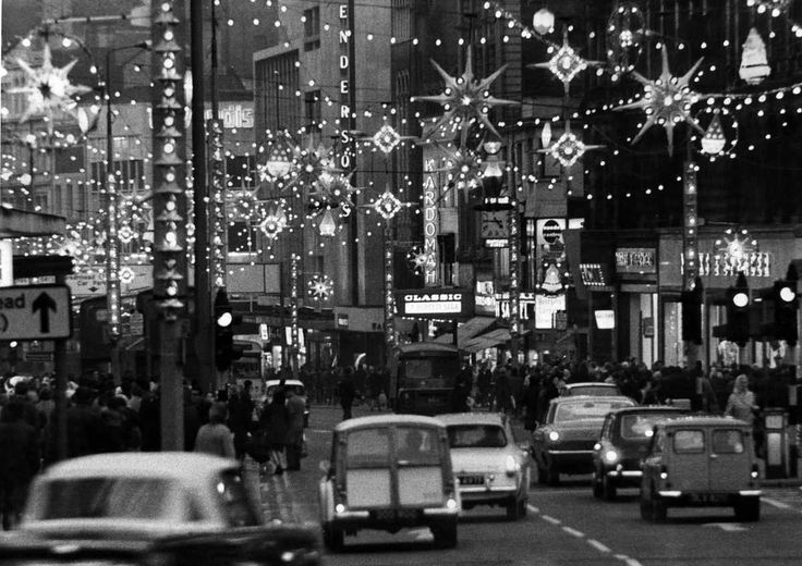Christmas lights illuminated a busy Church Street, Liverpool, packed with christmas shoppers looking for a bargain. 22nd November 1968
