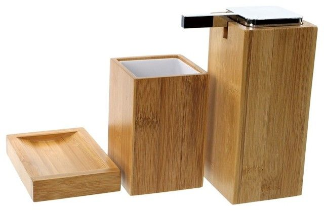 Bamboo Wood Bathroom Accessory Set By Gedy – contemporary – bath contemporary bathroom accessories sets | Home and Office Gallery Ideas