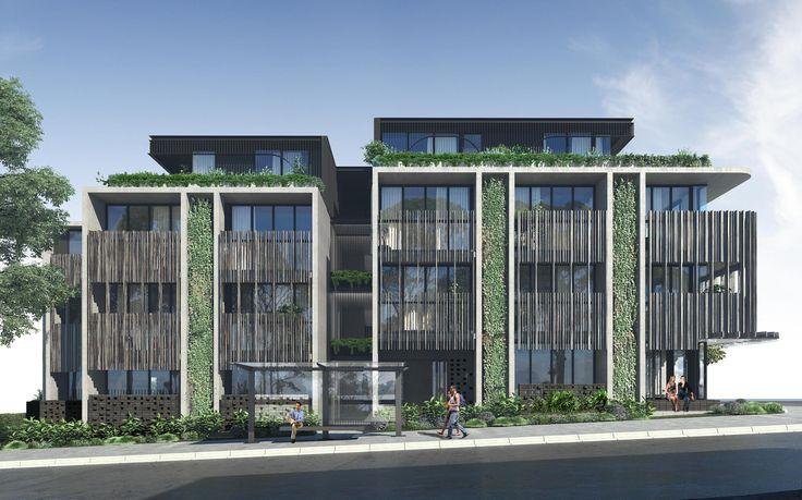 New environmentally sustainable studio apartment building in Bondi - green facades