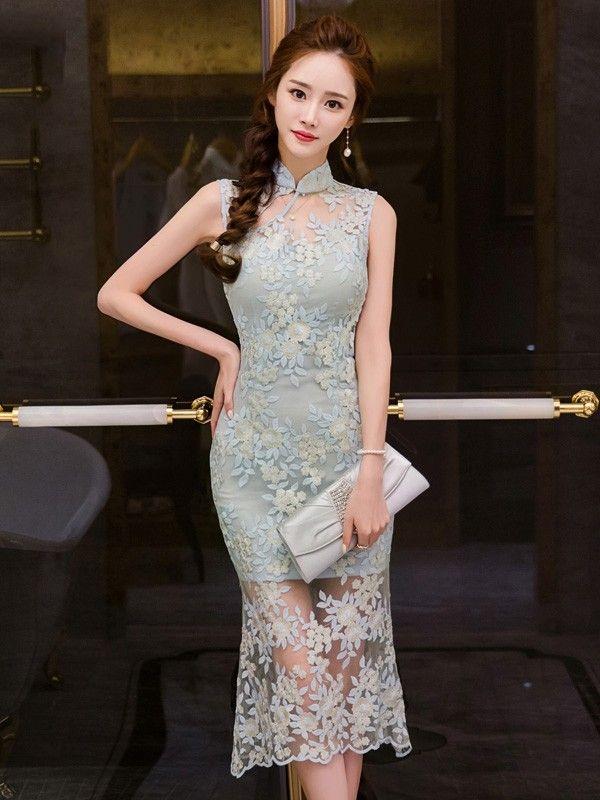 Embroidered Lace Placed Scallop Hem Midi Qipao / Cheongsam Dress
