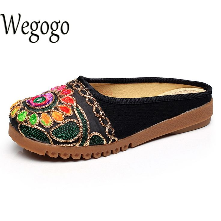 Wegogo Summer Women Slippers Thai India Girl Ethnic Embroidered Casual Sandals Handmade Canvas Soft Slippers Zapato Mujer #Affiliate