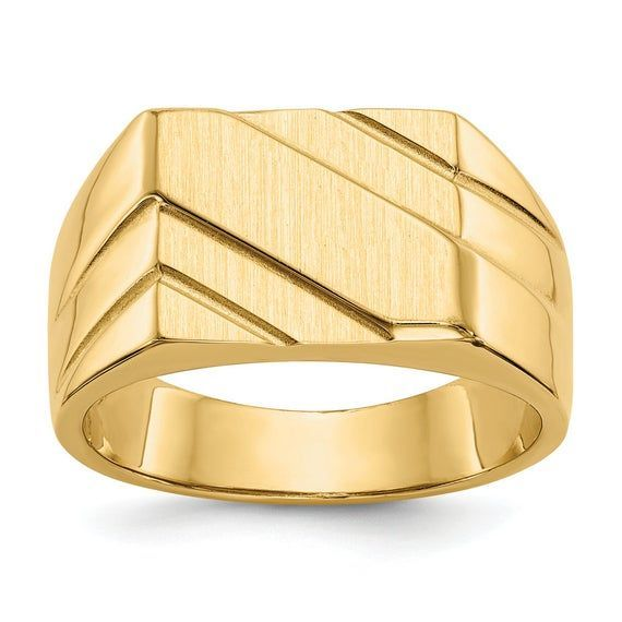 Men S 14k Yellow Gold Sculpted Octagon Engravable Signet Ring Size 10 Ith Different Mens White Gold Ri In 2020 Mens White Gold Rings Mens Gold Rings Size 10 Rings