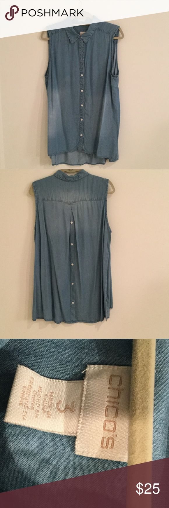 Chicos size 3 sleeveless long shirt Chicos Size 3 (16/18) Sleeveless jean color top with pleaded buttons on the back looks great with the pair jeans incredibly comfortable Chico's Tops