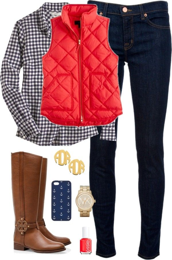 Red, White,  Boots by classically-preppy featuring mid rise skinny jeans ❤ liked on PolyvoreJ.Crew blue gingham shirt / J Brand mid rise skinny jeans, $275 / Tory Burch boots / Michael Kors  bracelet / White gold stud earrings / J Crew tech accessory / Essie formaldehyde free nail polish