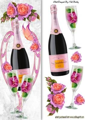PINK CHAMPAGNE WITH ROSES AND BUTTERFLY TALL DL on Craftsuprint - Add To Basket!