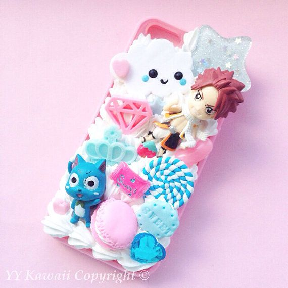 Custom kawaii anime manga Fairy Tail including Happy and Lucy Decoden Phonecase for Iphone 4/4s 5, Samsung Galaxy S2 S3 S4 Note, HTC on Etsy, $25.00