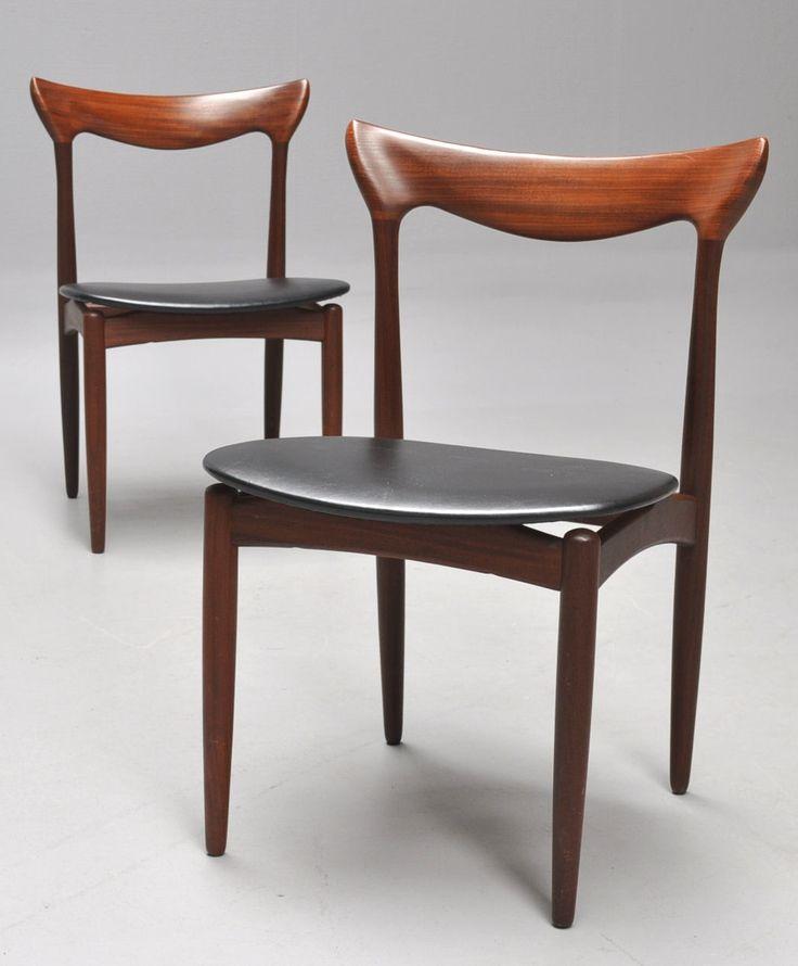 Delightful Henry W. Klein; Teak Side Chairs For NA Jorgensen Furniture, 1950s.