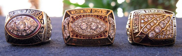 Washington Redskins Superbowl Rings 1982, 1987, 1991. Coach Joe Gibbs coached 12yrs took team to Superbowl 4 times, winning 3....with 3 different Quarterbacks! by americanheritage1.com