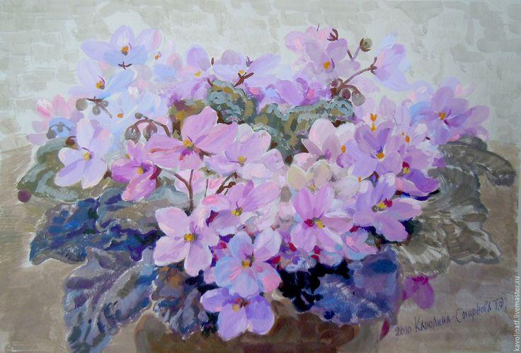 Купить Розовые фиалки - сиреневый, фиалки, розовые цветы, темперные краски, акварельная живопись, подарок