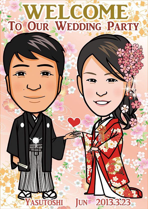 お客様の似顔絵ウェルカムボード。 イラストレーターはこちら)^o^( http://wedding.mypic.jp/data/0318/index.html