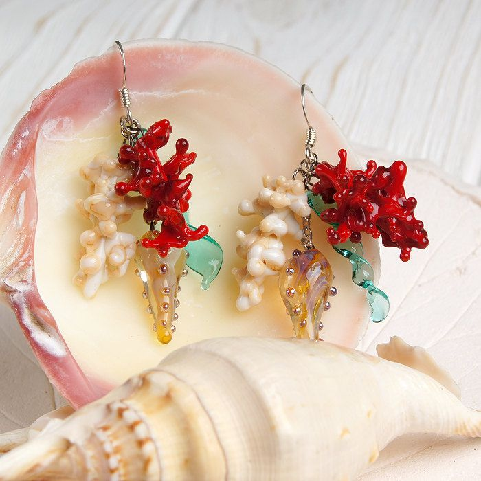 Red & ivory coral nautical lampwork earrings, sea earrings, ocean earrings, red earrings, ivory earrings, nature earrings, nautical earrings