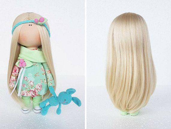 Baby doll Fabric doll Handmade doll Soft doll Love doll light green color Rag doll Textile doll Art doll doll by Master Tanya Evteeva