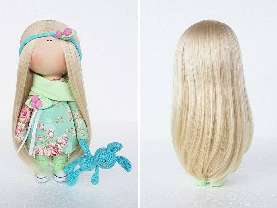 Baby doll Fabric doll Handmade doll Soft doll Love doll light green color Rag doll Textile doll Art doll doll by Master Tanya Evteeva