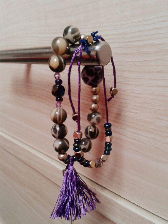 Stretch Bracelet Boho Bracelet Purple Bracelet by InLoveByJussty