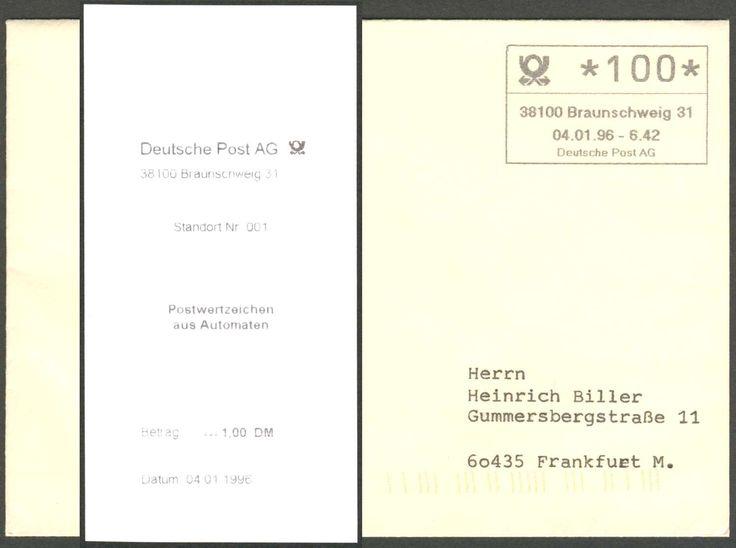 Germany, 04.01.1996/Bund, ABAS 1/=autom. Betriebsannahme-System, Braunschweig/ Friedrich-Wilhelm-Straße, Olivetti-Automat 1 Jahr als Betriebs-Versuch, seltener ERSTTAGS-Brief mit ATM-Eindruck, mit Gebühren-Quittung. Price Estimate (8/2016): 60 EUR.