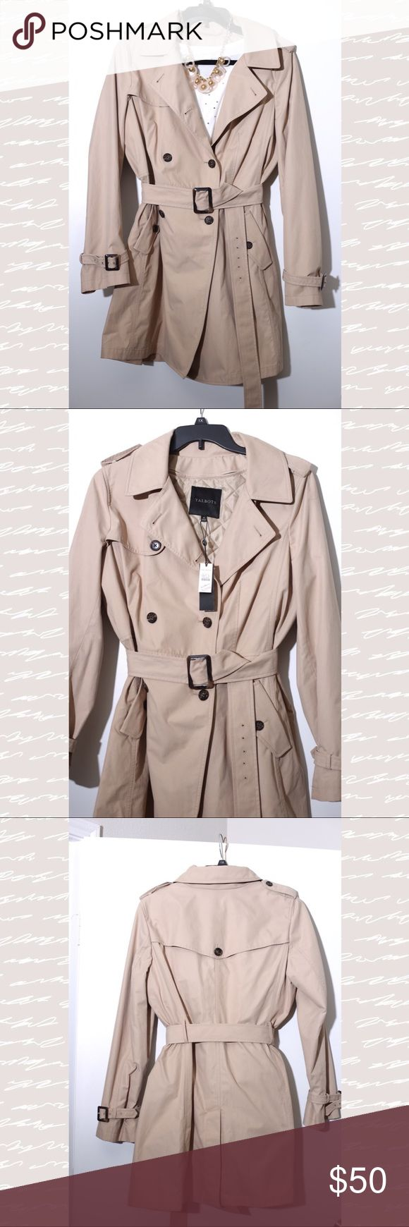 Talbots Trench Coat Classic coat that literally is timeless and will never go out of style. Coat is NWT. No stains, rips or tears. All buttons are on coat. Coat also has removable thinsulate liner! All items in my closet come from Smoke free and Pet Free home. * Necklace and Blouse are not for sale and are for advertising purposes only. All images are copyrighted by MichelleJo Photography. Talbots Jackets & Coats Trench Coats