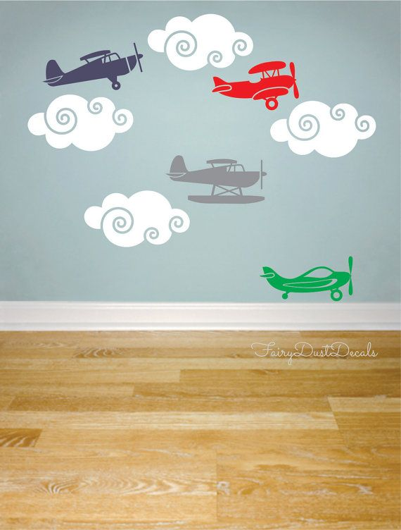 adorable:  Airplane wall decals    set of 8 planes    clouds included