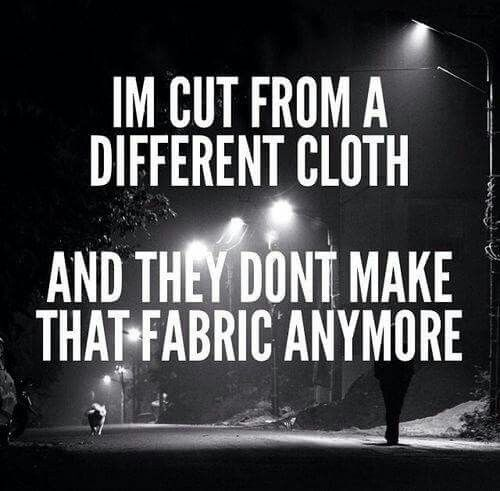 I'm cut from a different cloth,  and they don't make that fabric anymore.