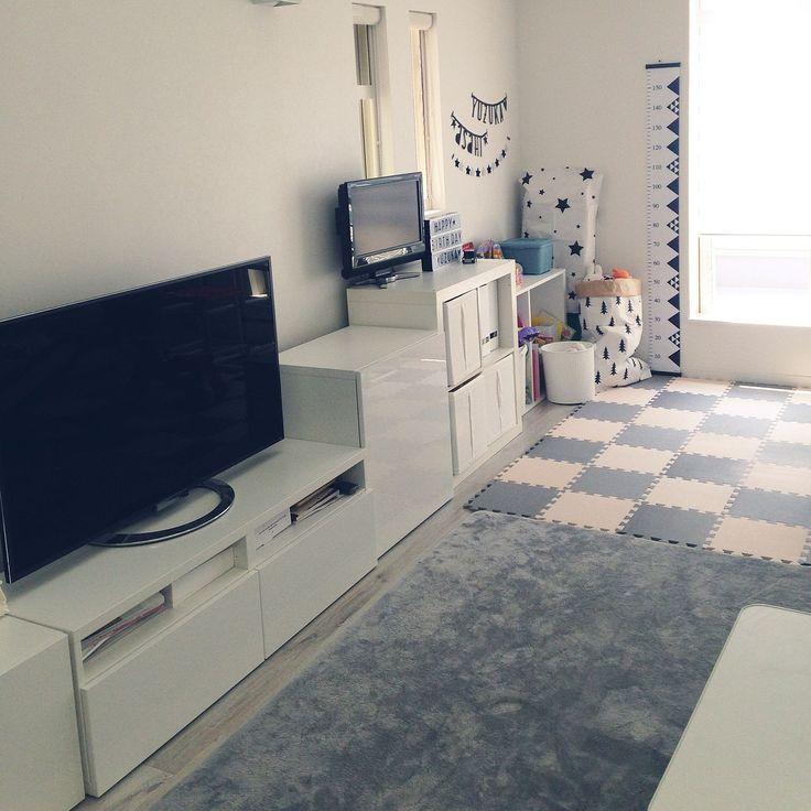 IKEA×ジョイントマットのインテリア実例   3ページ目   RoomClip ... Lounge/IKEA/白黒/モノトーン/ホワイトインテリア/おもちゃ収納/キッズスペース