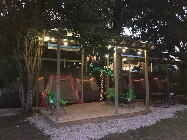 "The ""Holly Beach"" Glamping Tent is ready and our first ""Glampers"" from Lake Charles stayed in it for the very first time last night! Complete with an Air Conditioner, themed blow up beds, chandelier, mobile phone charging station, tiki torchs, fire pit and much more! call 337-453-5606 if interested! $160 per night, sleeps 4"